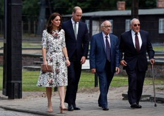 Image: Prince William, the Duke of Cambridge and Catherine, The Duchess of Cambridge meet with Holocaust survivors at the former Nazi concentration camp Stutthof