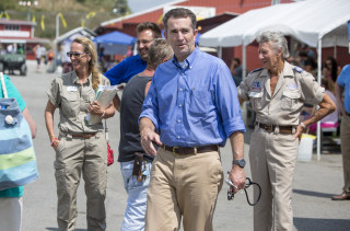 Image: Lt. Governor Ralph Northam arrives at the Wise County Fairgrounds to volunteer during the Remote Area Medical clinic, July 22, 2017, in Wise, Virginia.