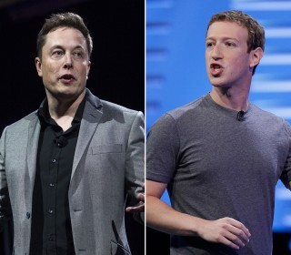 Image: A combination photograph showing Elon Musk, left and Mark Zuckerberg