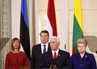 Image: U.S. Vice President Mike Pence speaks during a joint news conference with Estonia's President Kersti Kaljulaid, Lithuania's President Dalia Grybauskaite and Latvia's President Raimonds Vejonis in Tallinn, Estonia, July 31, 2017.