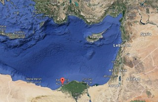Google map shows the location of the Egyptian city of Alexandria.