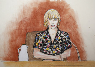 Image: In this courtroom sketch, pop singer Taylor Swift speaks from the witness stand during a trial, Aug. 10, 2017, in Denver.