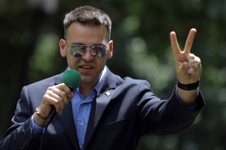 Jack Posobiec speaks at a rally about free speech outside of the White House in Washington