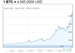 Bitcoin price past year
