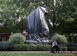 Image: Stonewall Jackson statue covered by tarp