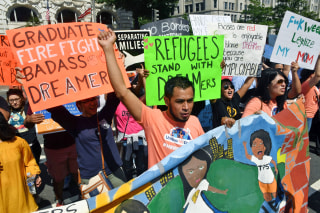 Image: Immigrants and supporters demonstrate during a rally in support of the Deferred Action for Childhood Arrivals (DACA) program
