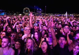 Image: A crowd watches Cage The Elephant perform at the Life Is Beautiful festival