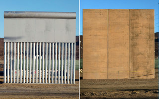 Image: Two of the eight prototypes for President Donald Trump's US-Mexico border wall near San Diego is seen from across the border from Tijuana