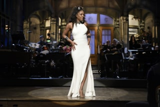 Image: Host Tiffany Haddish opens Saturday Night Live with a monologue in Studio 8H on Nov. 11, 2017.