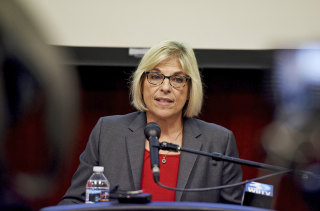 Image: Mecklenburg County Manager Dena Diorio speaks at a news conference