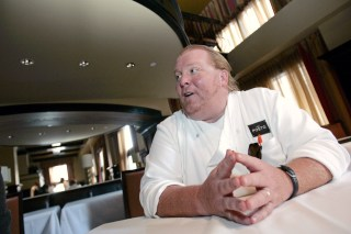 Image: Celebrity chef Batali talks during an interview with Reuters at his latest restaurant, Del Posto, in New York