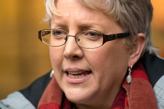 "Image: Journalist Carrie Gracie speaks to the media outside BBC Broadcasting House in London after she turned down a ?45,000 rise, describing the offer as a ""botched solution"" to the problem of unequal pay at the BBC, on Jan. 8, 2018."