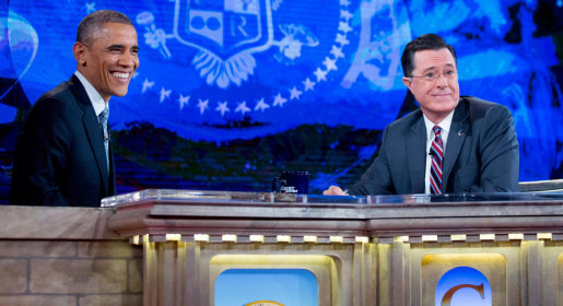 Image: President Obama Tapes An Interview For The Colbert Report with Stephen Colbert