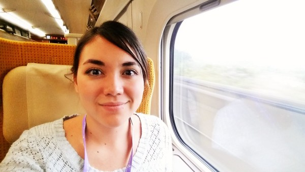 Heidi Nielson on the Shinkansen -- Japan's high-speed railway line -- traveling from Sendai from Tokyo.