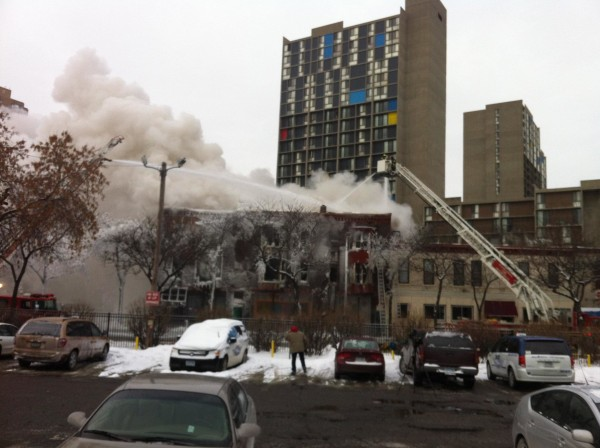 Image: First responders at the scene of a building explosion and fire in Minneapolis on Jan. 1, 2014.
