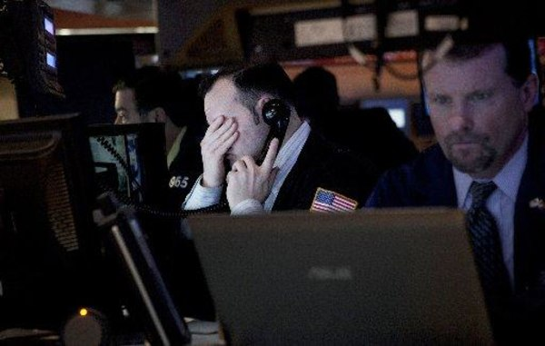 Stocks fell and Wall Street recorded its first negative start to a year since 2008