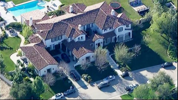 Justin Bieber's mansion in Calabasas, Calif., is shown in an aerial photo.