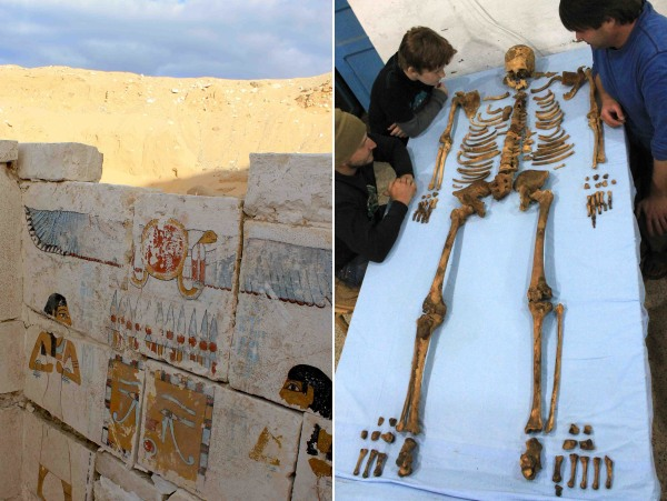 Image: Decorated wall and skeleton
