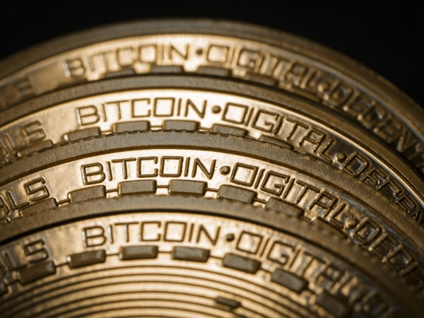 Image: A close-up view of a bitcoin model in Berlin