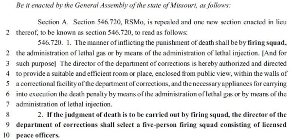 Image: A bill introduced in the Missouri state House proposes using firing squads for executions