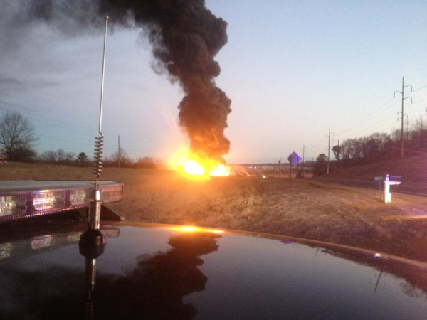 A fire rages at a bio-diesel plant in New Albany, Mississippi