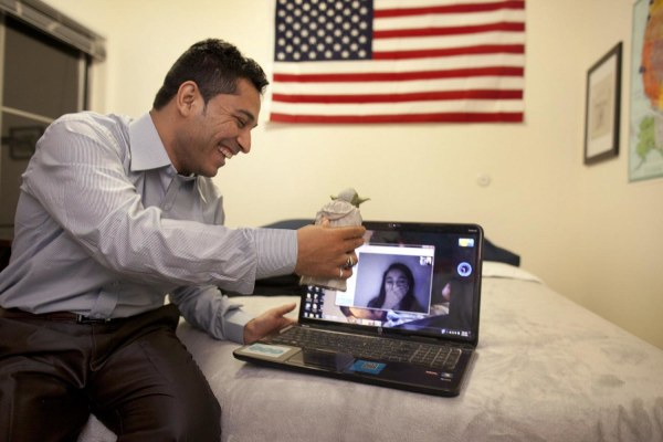 Image: Former interpreter Mohammed talks to his sister back in Afghanistan from his new home in the U.S.