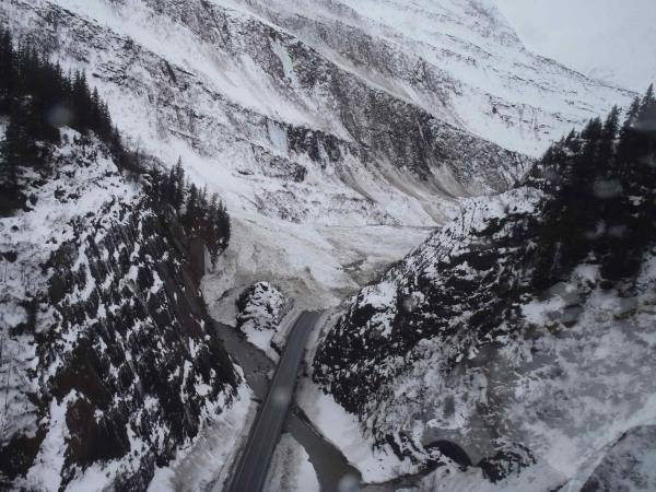 Image: avalanche activity in Keystone Canyon near of Valdez, Alaska