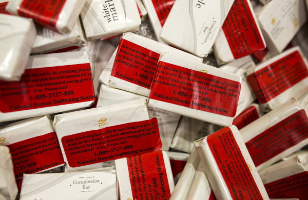 Image: Bars of soap which are distributed to hotels to give anyone at risk of human trafficking a number to call.