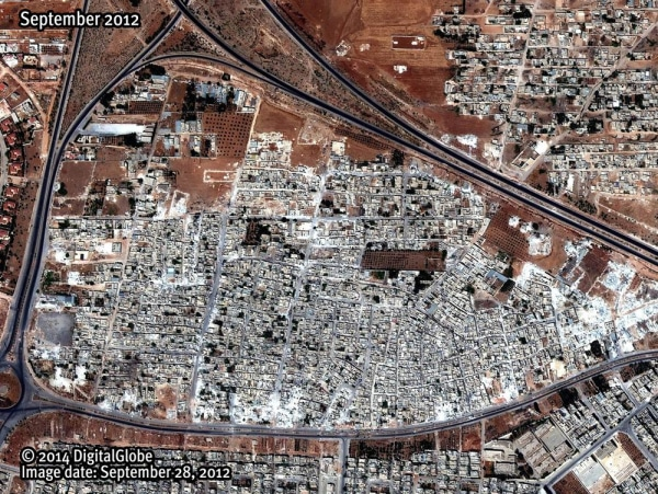 A satellite image dated September 2012 shows the Masha' al-Arb'een neighborhood in Hama, Syria.