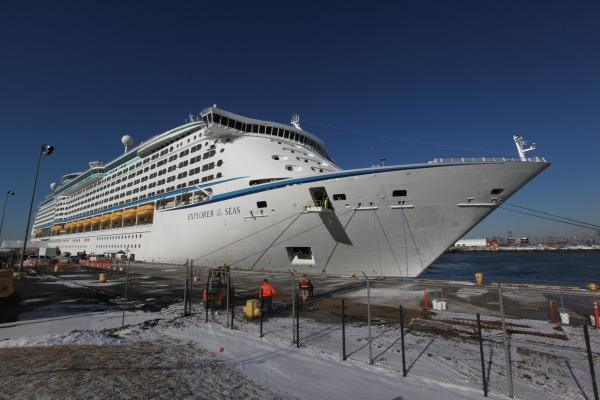 Image: The Explorer of the Seas cruise ship returns to port after hundreds of passengers became ill on Jan. 29, 2014, in Bayonne, N.J.