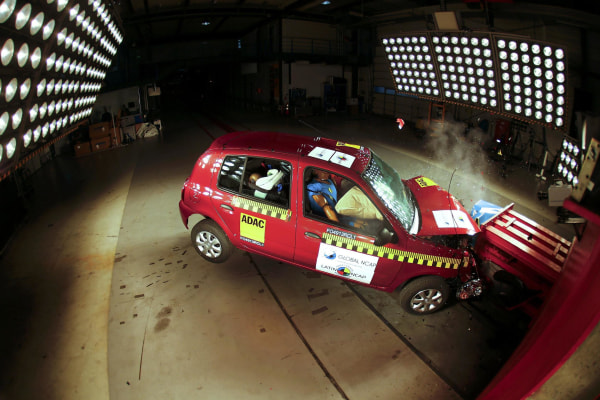 Image: A car is frontal-crashing during a test at the laboratory of the German motor club ADAC in Landsberg am Lech