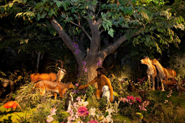 Image: A diorama at the Creation Museum explains God's creation of Adam in the Garden of Eden.