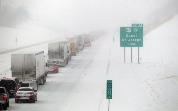 Traffic sits at a stand still on southbound I-29 Tuesday, Feb. 5, 2014.