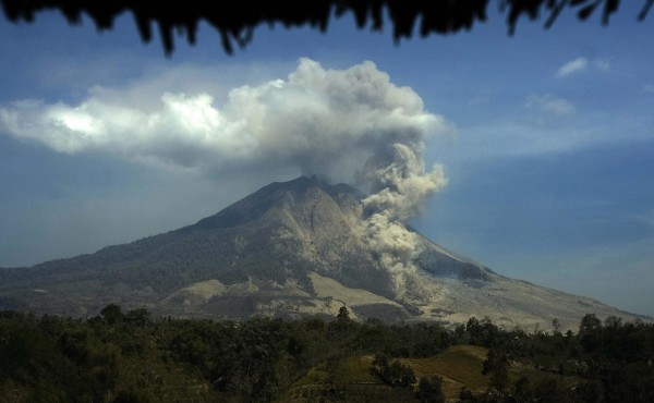 Image: Mount Sinabung continues to erupt on Wednesday.