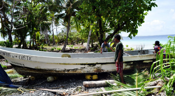 Image: The boat of Pacific castaway Jose Salvador Alvarenga
