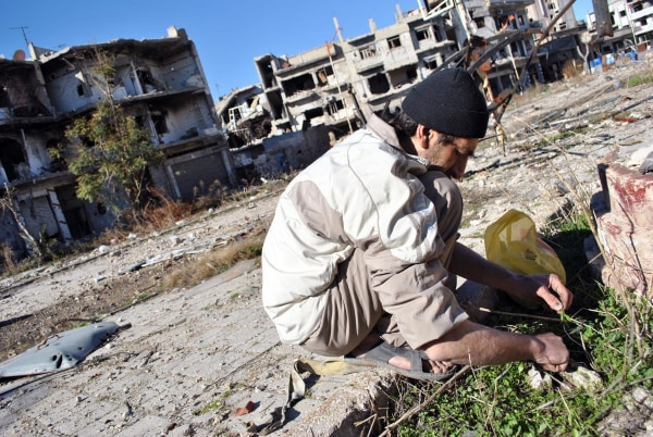 Image: A man looks for herbs to eat with his family in the heavily damaged neighborhood of Juret al-Shiyah, Homs.