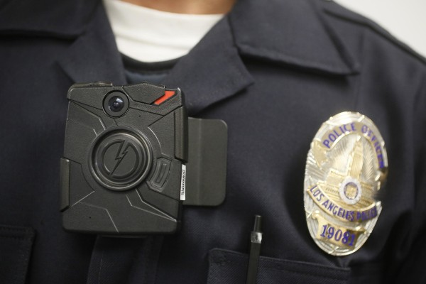 Image: A Los Angeles police officer wears an on-body camera