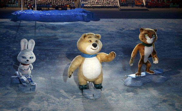 Image: Mascots of the 2014 Sochi Winter Olympics, a hare, a bear and a leopard, take part in the opening ceremony of the 2014 Sochi Winter Olympics