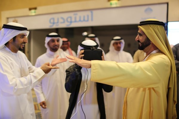 Image: UAE Prime Minister and Ruler of Dubai Sheikh bin Rashid al-Maktoum and his son, Crown Prince Sheikh Hamdan al-Maktoum