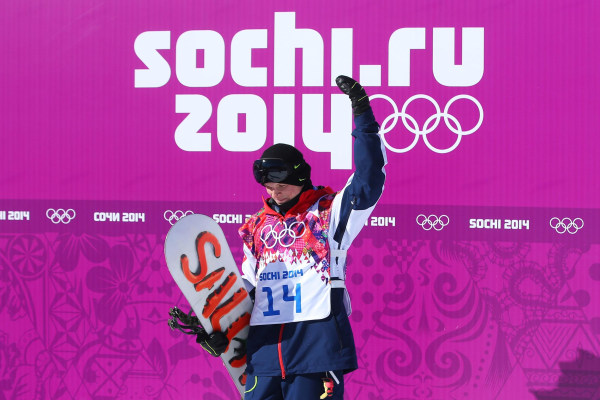 Image: Jamie Nicholls of Great Britain reacts after receiving his score in his first run during the Snowboard Men's Slopestyle Final