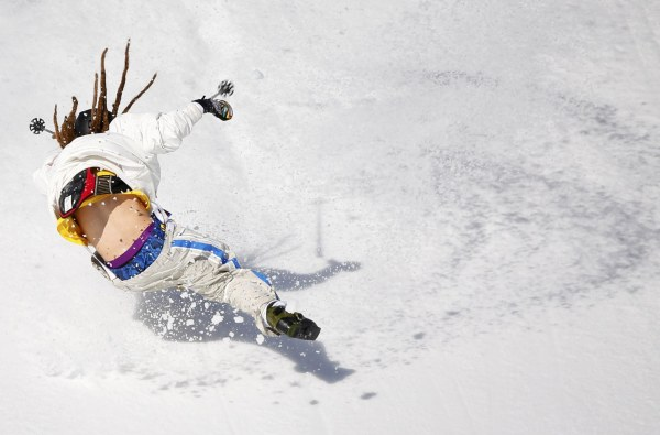 Image: Sweden's Henrik Harlaut crashes during men's freestyle skiing slopestyle qualification round at 2014 Sochi Winter Olympic Games in Rosa Khutor