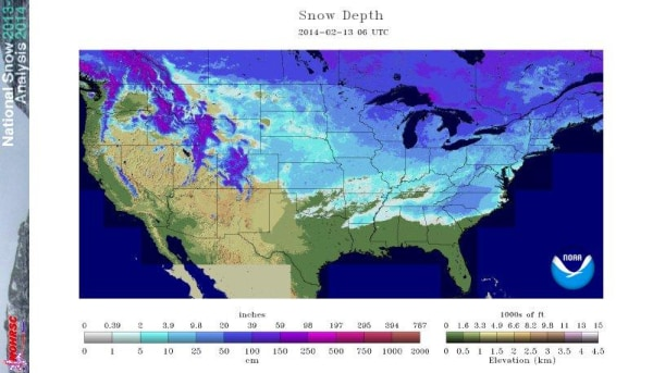 Image: National Weather Service map of snow depth