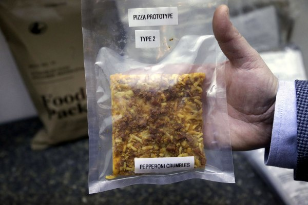 A packet containing a slice of prototype pizza