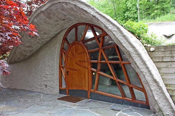 The front door of the Mushroom House was created by artist and sculptor Wendell Castle.