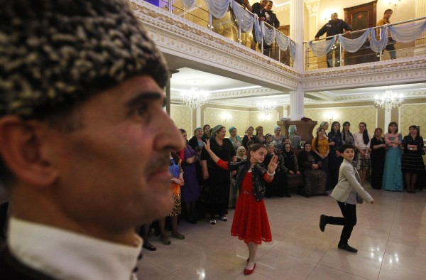 Guests dance at a wedding in the Chechen capital Grozny