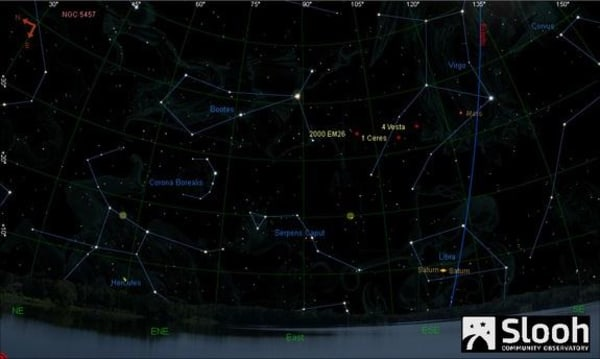 Image: Graphic of asteroid 2000 EM26 in the night sky