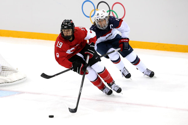 Image:  Brianne Jenner #19 of Canada handles the puck against Meghan Duggan #10 of the United States.