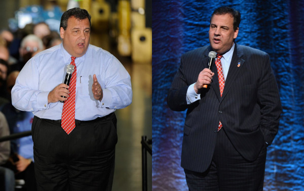 Image Chris Christie in October 2012, left, and January 2014, right.