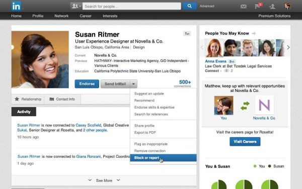Member blocking on LinkedIn