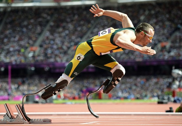 Image: South Africa's Oscar Pistorius starting his men's 400m round 1 heats at the London 2012 Olympic Games at the Olympic Stadium